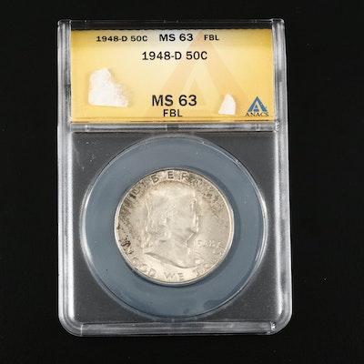 ANACS MS63 1948-D Full Bell Lines Franklin Silver Half Dollar