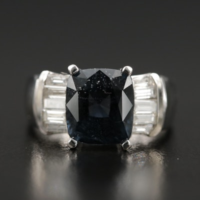14K Iolite and Diamond Ring with Euro Shank