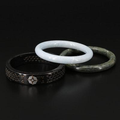 Horn, Quartzite and Serpentine Bangle Bracelets