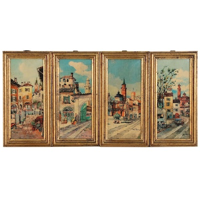 Florentine Cityscape Offset Lithographs, Late 20th Century
