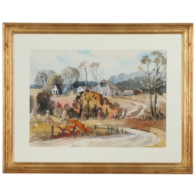 Louis W. Bonsib Watercolor Painting of a Farm Scene