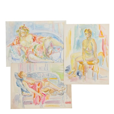 Yolanda Fusco Female Nude Embellished Watercolor Paintings, 20th Century