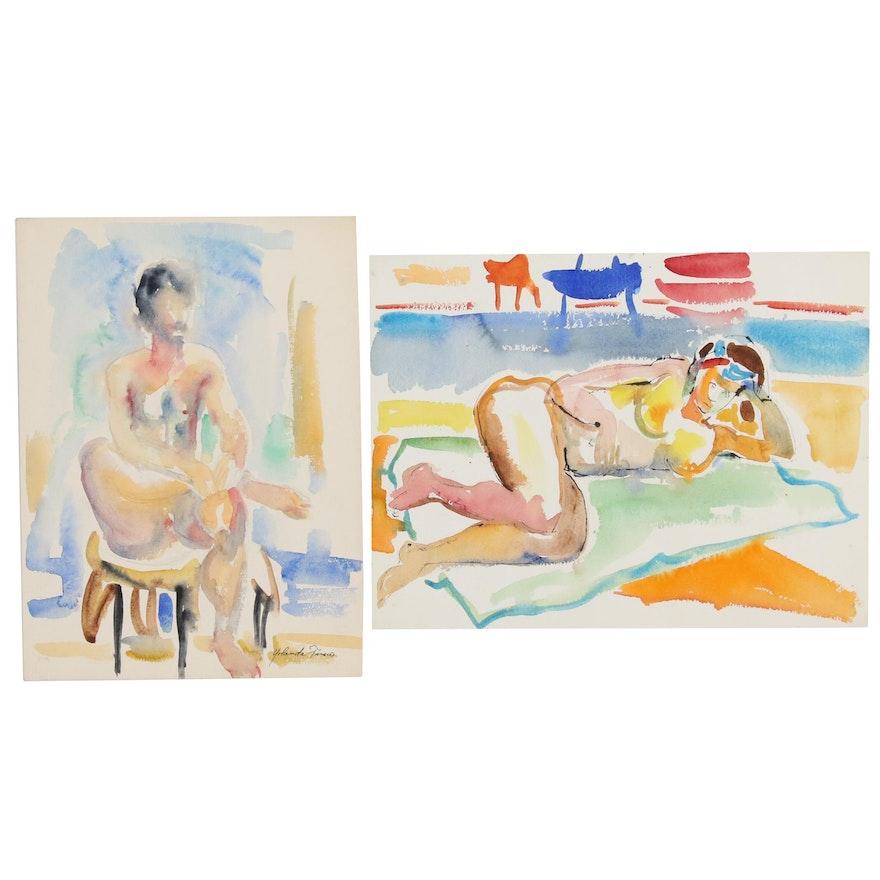 Yolanda Fusco Nude Watercolor Paintings, Late 20th Century