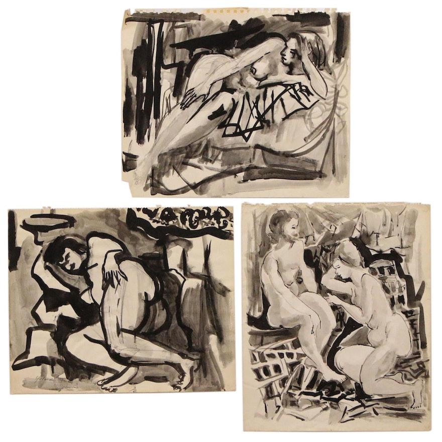 Yolanda Fusco Ink Wash Paintings, Late 20th century