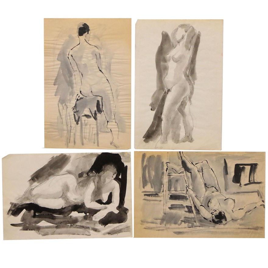 Yolanda Fusco Embellished Ink Wash Paintings, Late 20th Century
