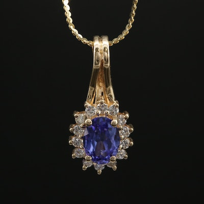 14K Yellow Gold Tanzanite and Diamond Pendant Necklace With Serpentine Chain