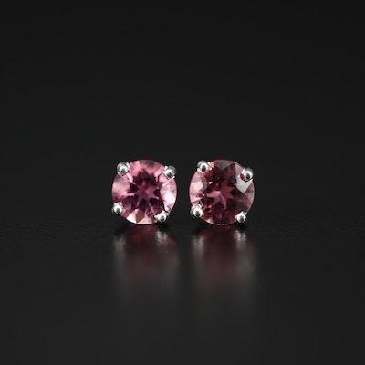 Sterling Silver Pink Tourmaline Stud Earrings