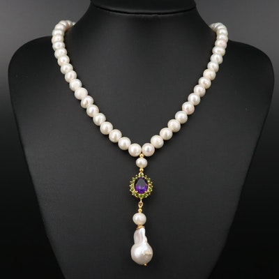 Sterling Silver Cultured Pearl, Amethyst, and Diopside Necklace