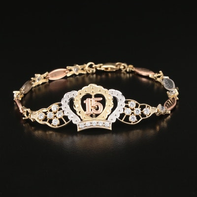 14K Tri-Color Gold Cubic Zirconia Quinceañera Bracelet