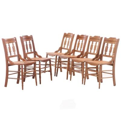 Six Victorian Walnut and Burl Walnut Side Chairs, Late 19th Century