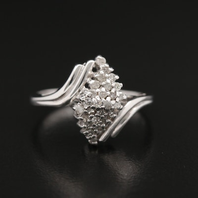 10K Diamond Waterfall Bypass Ring