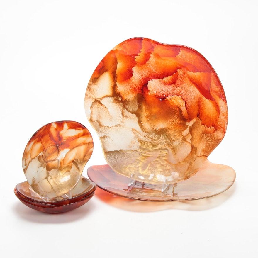 Handmade Amber Art Glass Dinnerware