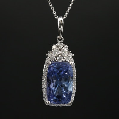 14K 5.72 CT Tanzanite and Diamond Pendant Necklace