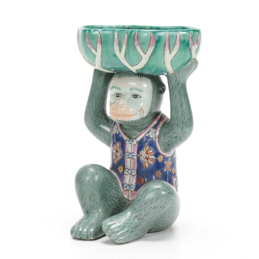 Chinese Hand-Painted Ceramic Monkey with Lotus Leaf Pedestal Bowl