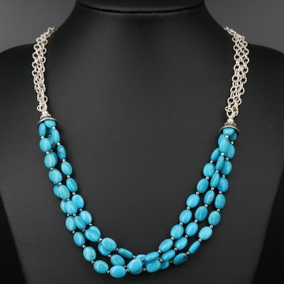 Sterling Silver Beaded Turquoise Necklace
