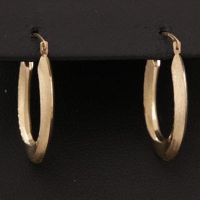 10K Satin Finish Hoop Earrings