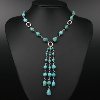 Sterling Silver Turquoise Bead Necklace