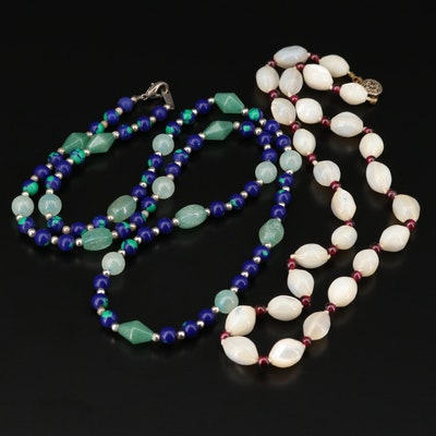Sterling Silver Beaded Mother of Pearl and Gemstone Necklace