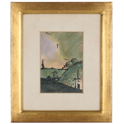 Watercolor Landscape Painting with Charcoal Embellishments, 20th Century