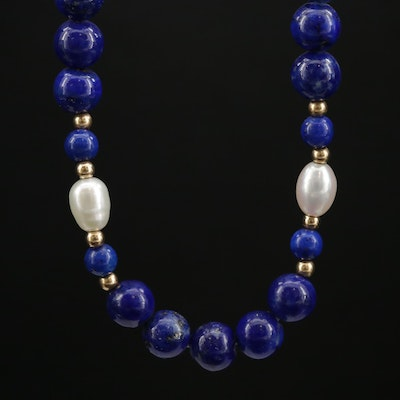 14K Beaded Lapis Lazuli and Cultured Pearl Necklace
