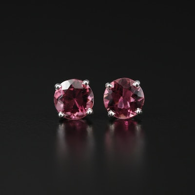 Sterling Tourmaline Solitaire Stud Earrings