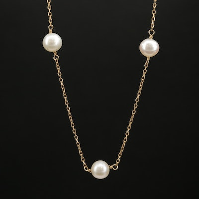 14K Cultured Pearl Station Necklace