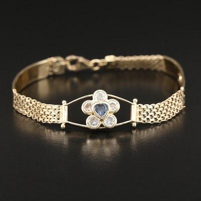 14K Cubic Zirconia Bismark and Greek Key Link Bracelet