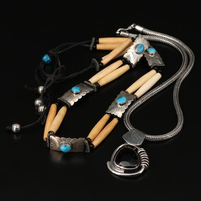 Sterling Silver Turquoise, Bone and Glass Pendant Necklaces