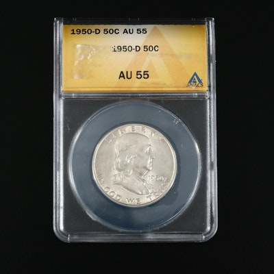 ANACS Graded AU55 1950-D Franklin Silver Half Dollar