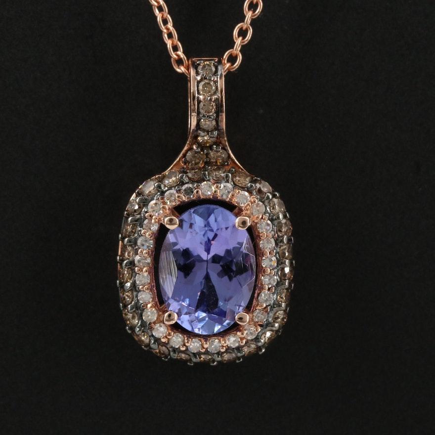 EFFY 14K Rose Gold Tanzanite and Diamond Pendant Necklace