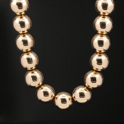 14K Round Bead Necklace