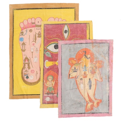 Monumental Indian Tantric Gouache Paintings, 20th Century