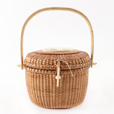 Barlow Nantucket Style Woven Basket Handbag