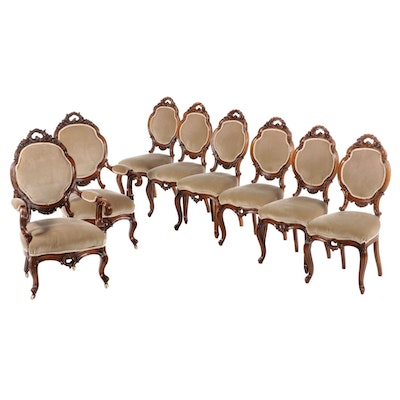 Set of Eight Rococo Revival Walnut Parlor Chairs, Third Quarter 19th Century