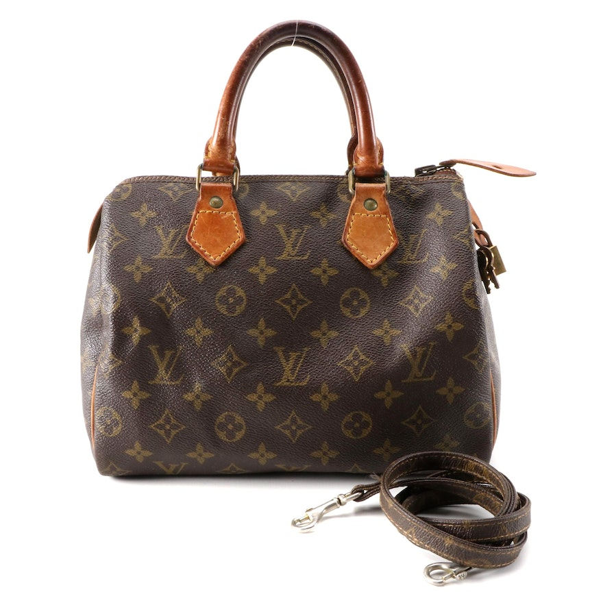 Louis Vuitton Speedy 25 Bag in Monogram Canvas and Vachetta Leather
