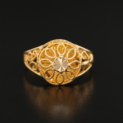 18K Openwork Dome Ring with Diamond Cut Accent