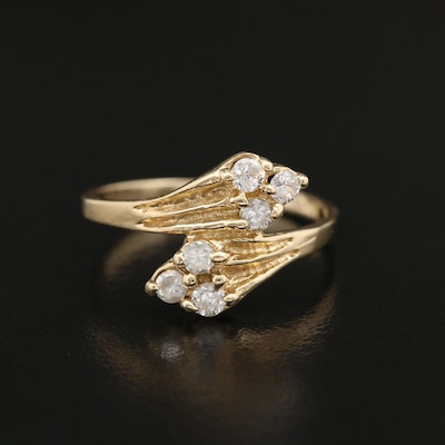 14K Gold Cubic Zirconia Bypass Ring