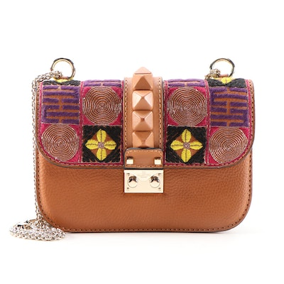 Valentino Garavani Glam Lock Embellished Cognac Grained Leather Shoulder Bag