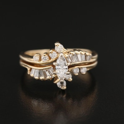 14K Diamond Bypass Style Ring