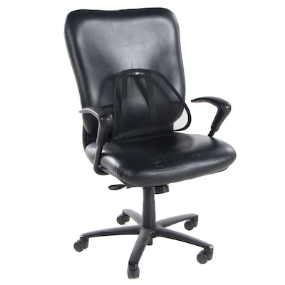 Bonded Leather Desk Chair with Lumbar Support