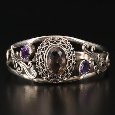 Sterling Silver Smoky Quartz and Amethyst Cuff Openwork Bracelet