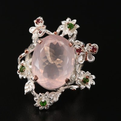 Sterling Silver Rose Quartz, Diopside, and Garnet Ring Featuring Natural Motif