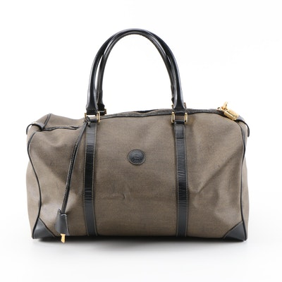Fendi Weekender Travel Bag in Coated Canvas and Black Leather
