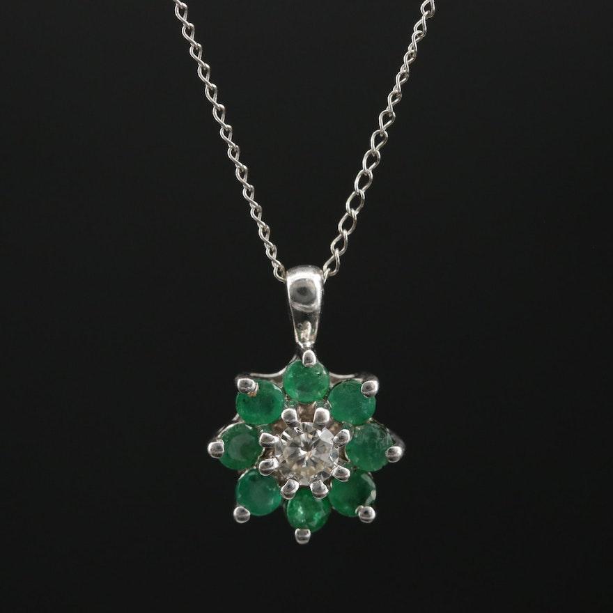 14K White Gold Emerald and Diamond Pendant Necklace