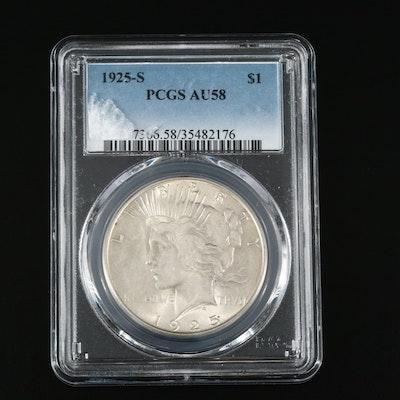 Low Mintage PCGS AU58 1925-S Silver Peace Dollar