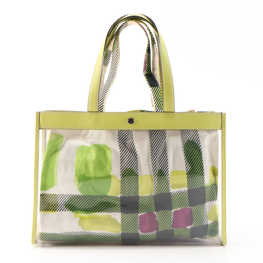 Burberry Leather Trimmed Vinyl Tote Bag with Optional Cotton Plaid Liner