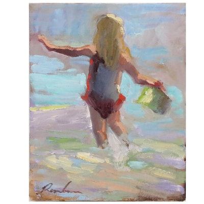 Sally Rosenbaum Figural Oil Painting of a Child at the Beach