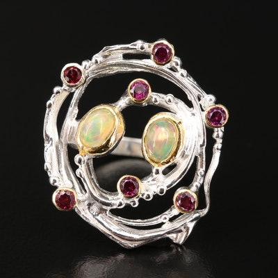 Sterling Silver Opal and Garnet Openwork Ring