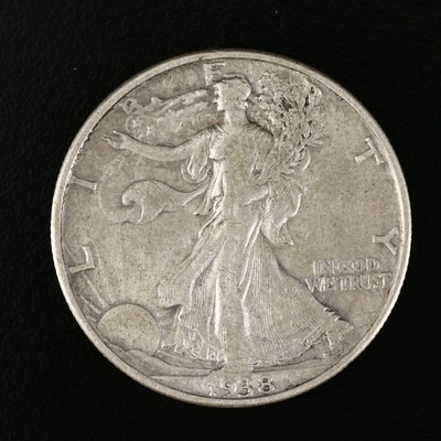 Key Date Low Mintage 1938-D Walking Liberty Silver Half Dollar