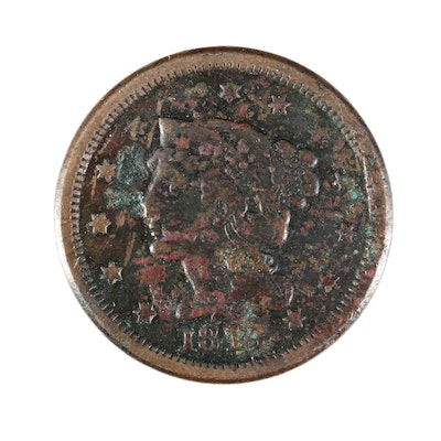 1844 Braided Hair Large Cent Coin